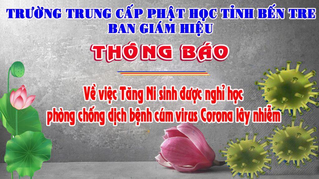 Bến Tre: Trường Trung Cấp Phật Học tỉnh Bến Tre thông báo nghỉ học – phòng chống dịch cúm Virus Corona