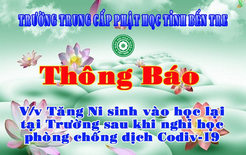 Bến Tre: Trường Trung cấp Phật học tỉnh Bến Tre thông báo ngày cho Tăng Ni sinh nhập học lại.
