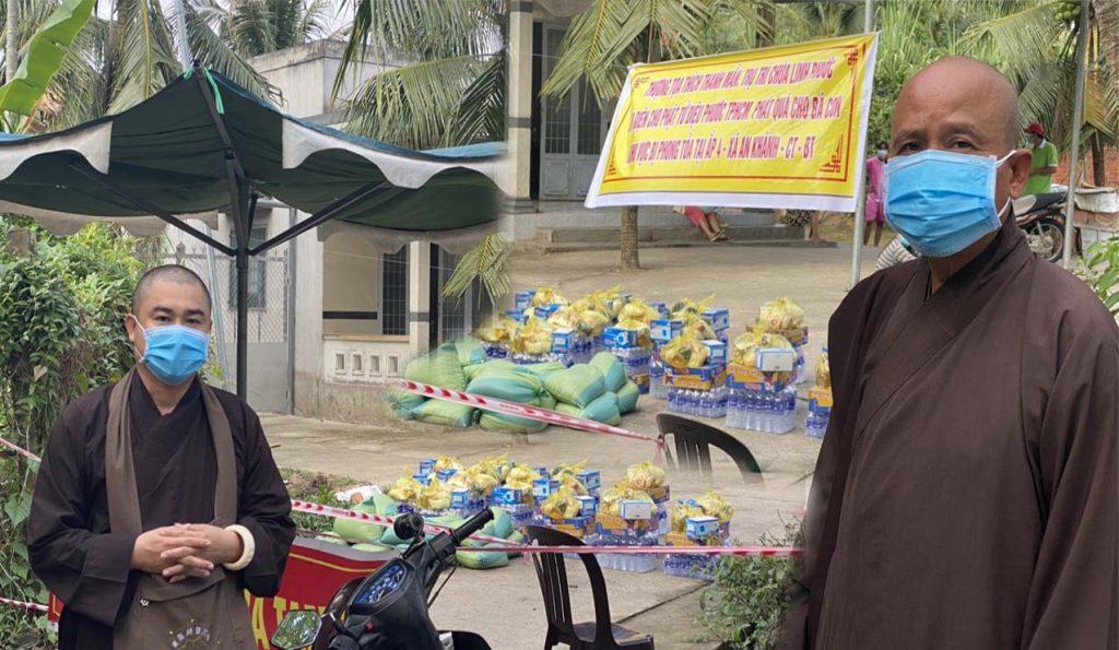 Bến Tre: CLB Bồ Đề chùa Linh Phước trao tặng quà cho bà con tại khu cách ly xã An Khánh
