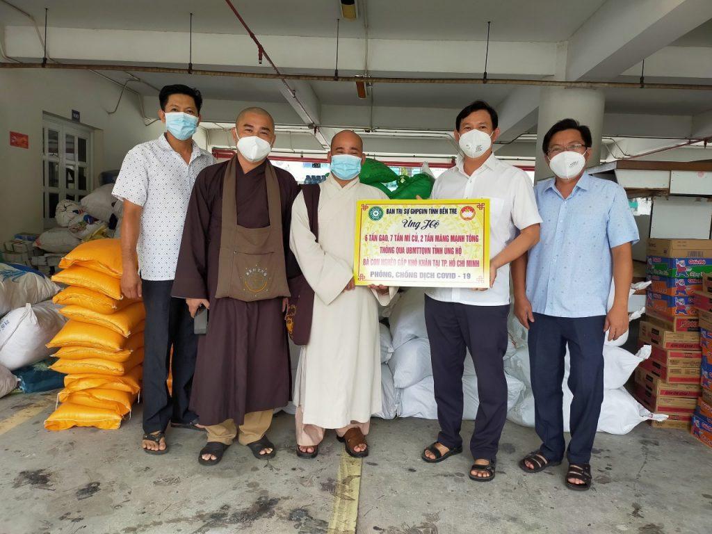 Bến Tre: Phật Giáo tỉnh phối hợp cùng UB MTTQVN tỉnh hỗ trợ  thực phẩm cho người dân Bến Tre tại TP.HCM