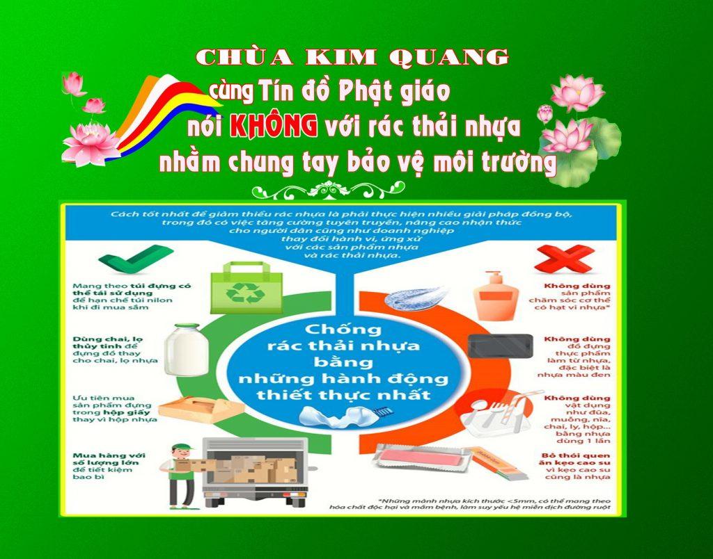 """Bến Tre: Chùa Kim Quang phối hợp cùng Ủy Ban MTTTQVN Thành phố thực hiện mô hình """"Tuyên truyền, vận động tín đồ Phật giáo nói không với rác thải nhựa"""""""